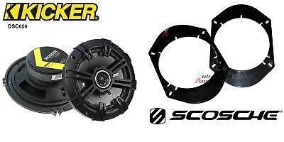 Kicker DSC650 6.5 Speakers + 1 Pair Front / Rear Adapters For
