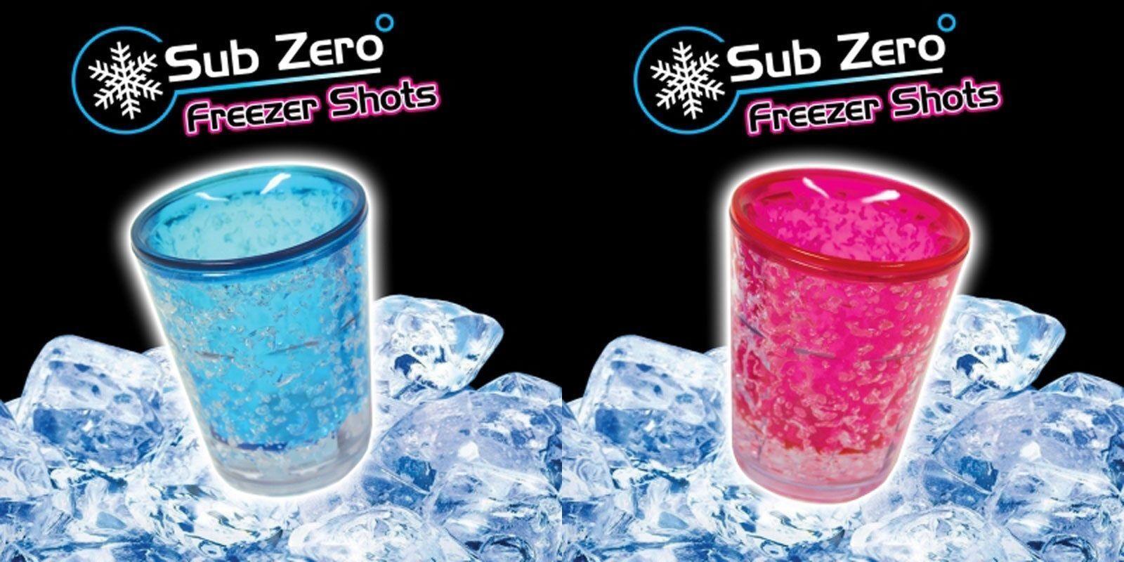 4 x Sub Zero Pink//Blue Freezer Ice Shot Glass Barware Party Stocking Filler Gift