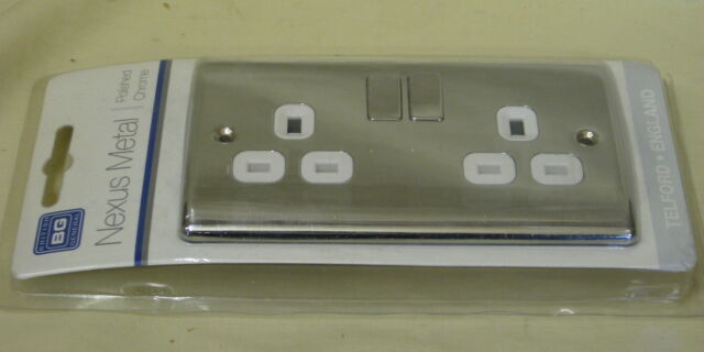 BG Nexus NPC22W-01 Polished Chrome 2 Gang DP 13A Switched Socket  - more avail.
