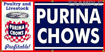PURINA CHOWS FEED LIVESTOCK OLD SCHOOL SIGN REMAKE BANNER SHOP GARAGE ART 2 X 4