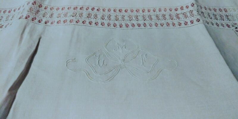 """Gorgeous Large French Embroidered & Drawnwork Linen Sheet Set 105""""x 92"""" + 26""""Sq."""
