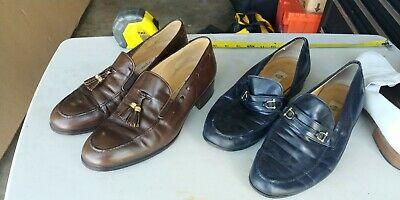 GUCCI Vintage Men's Black Leather Dress Loafers Shoes Size 42and 42 1/2 set of 2