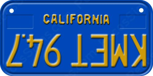 """KMET 94.7 Upside Down on a 6""""x3"""" Bicycle/Mini Aluminum License Plate Made in USA"""