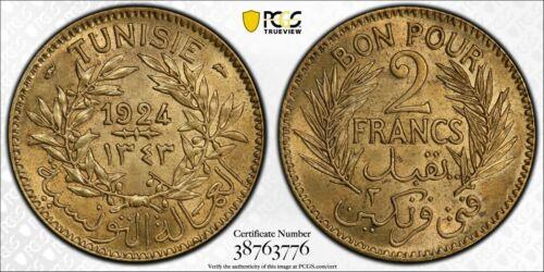 1924 MS64 Tunisia 2 Francs UNC PCGS AH 1343 Top Pop! KM 248 Lec 292