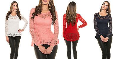 Damen Langarm Peplum Netz Oberteil Schösschen Spitze Top Shirt Tunika BoHo S M L ()