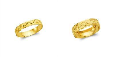 14K Solid Gold Star Stamping Wedding Band Fancy Ring Men Women 4-6mm -