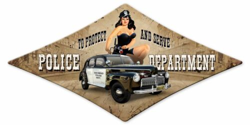 "RISQUE SAN DIEGO POLICE DEPT 28"" DIAMOND SHAPED HEAVY DUTY USA MADE METAL SIGN"