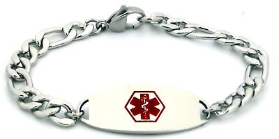 Figaro Chain Medical Id Bracelet (Medical ID Bracelet Stainless Steel Figaro Chain Free Engraving & Medical)