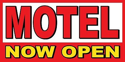 Motel Now Open Banner Sign - Sizes 24 48 72 96 120