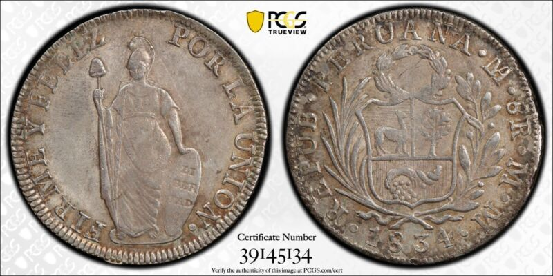 1834-L MM Peru 8 Reales Silver Crown Coin PCGS AU-50 With TruView