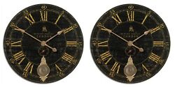 PAIR BOND STREET XXL 30 WEATHERED CRACKLED LAMINATED WALL CLOCK UTTERMOST