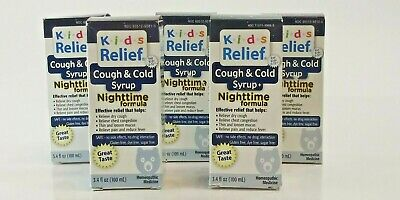 Lot x 5 Kid's Relief Cough & Cold Syrup Nighttime Formula 3.4 oz EXP 7/21 A6 Childrens Formula Cough Syrup