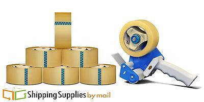Clear Hotmelt Packing Tape 3 Inch x 110 Yards 1.6 Mil with Dispenser 6 rolls