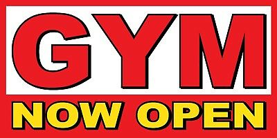 Gym Now Open Banner Sign - Sizes 24 48 72 96 120