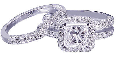 GIA G-VS2 14K white gold princess cut diamond engagement ring and band 2.50ctw 6