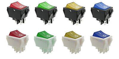 5 x Leucht-Wippenschalter Schwarz Weiß beleuchtet 2 x Ein-Aus 12 / 250 V 15 A
