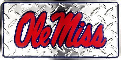 Ole Miss Rebels Embossed Diamond Metal Auto Tag License Plate Sign (Ole Miss Auto-tag)