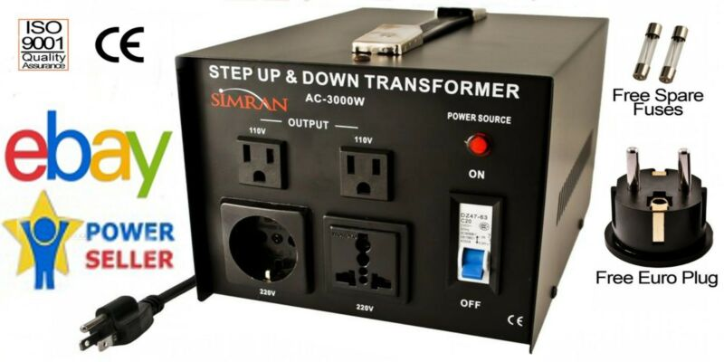 Simran AC-3000W Power Outlet Converter 110V-220v Up Down Transformer 3000 Watt W