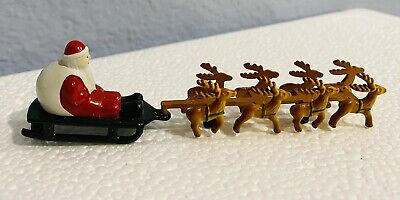 Department 56 Cast Metal Santa Sleigh Tiny Reindeer Up On The Rooftop