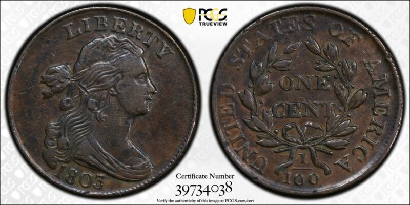 1803 DRAPED BUST LARGE CENT 1C SMALL DATE LG FRAC PCGS XF 40