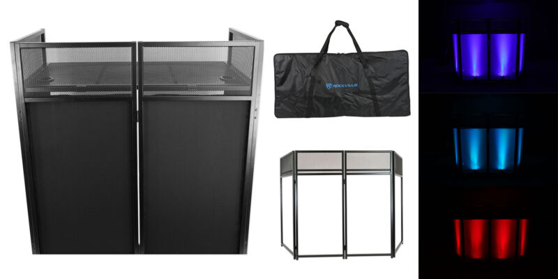 Rockville ROCKBOOTH XL DJ Event Booth Facade w/Built in Table+Travel Bag+Scrims