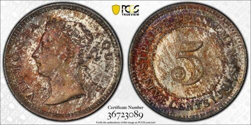 1901 Straits Settlements 5 Cents KM#10 PCGS MS64