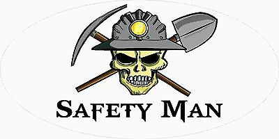 3 - Safety Man Miner Skull Mining Tool Box Hard Hat Helmet Sticker Wv H408