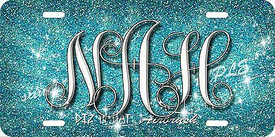 Monogram Initials Glitter Airbrush License Plate Blue design Car Auto Tag  Blue Airbrushed License Plates