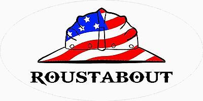 3 - Roustabout Us Flag Hard Hat Union Oilfield Tool Box Helmet Sticker H395