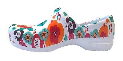 Womens New Slip Resistant Lightweight Flower Nursing Medical Clog Sizes Run Big - Lightweight Clogs