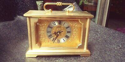 Vintage Linden Solid Brass Filligreed Face Mantle Clock (Japan)