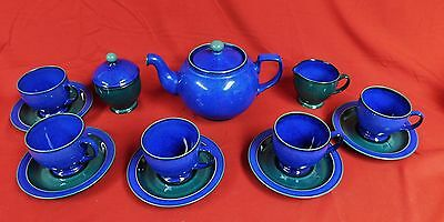 England Pottery DENBY Metz Blue and Green 13 Piece Tea Set & Denby/Langley/Lovatts China u0026 Dinnerware Pottery u0026 China Pottery ...