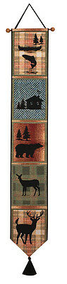 Bear Lodge Deer Bear Cabin Trout Silhouette Tapestry Wall Hanging Bellpull