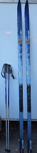 FISCHER BC COUNTRY CROWN CROSS COUNTRY SKIIS, GRABEL POLES & SA
