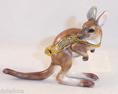 MINIATURE JOEY THE KANGAROO PEWTER  BEJEWELED HINGED TRINKET  BOX