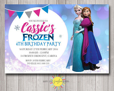 Custom Printable Frozen Birthday Invitation Purple/Blue Bokeh Any Age Elsa - Frozen Custom Invitations