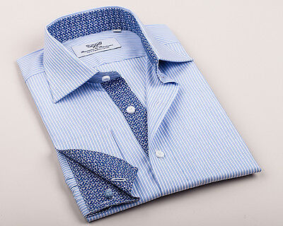 Blue Striped Dress Shirt Italian Lily Floral Business Formal Best Mens