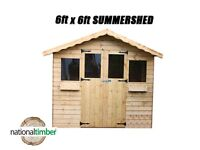 6FT x 6FT SUMMER HOUSE WITH 1FT OVERHANG/GARDEN SHED! TOP QUALITY TIMBER