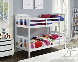 💗💥💗MASSIVE STOCK CLEARANCE OFFER🔥💗💥NEW SINGLE WHITE WOODEN BUNK BED-CONVERTIBLE BED & MATTRESS