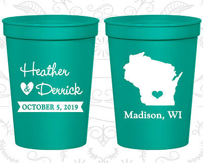 Personalized Cheap Wedding Cups Custom Cup (148) Wisconsin Wedding Favors