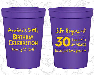 Personalized 30th Birthday Favor Cups Custom Cup (20019) Life Begins At Thirty](30th Birthday Cups)