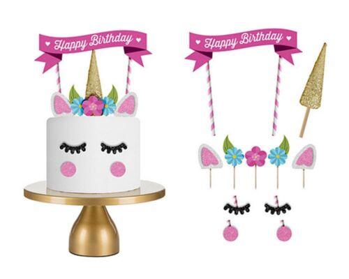 Cute Handmade Unicorn Cake Cupcake Topper Decoration Birthday Party US Supplies