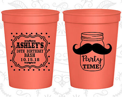 Personalized 30th Birthday Stadium Cups Custom Cup (20281) Rustic, Mustache](30th Birthday Cups)