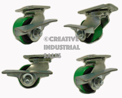 3-14 X 2 Swivel Caster Low Profile Polyurethane On Steel Brake 4