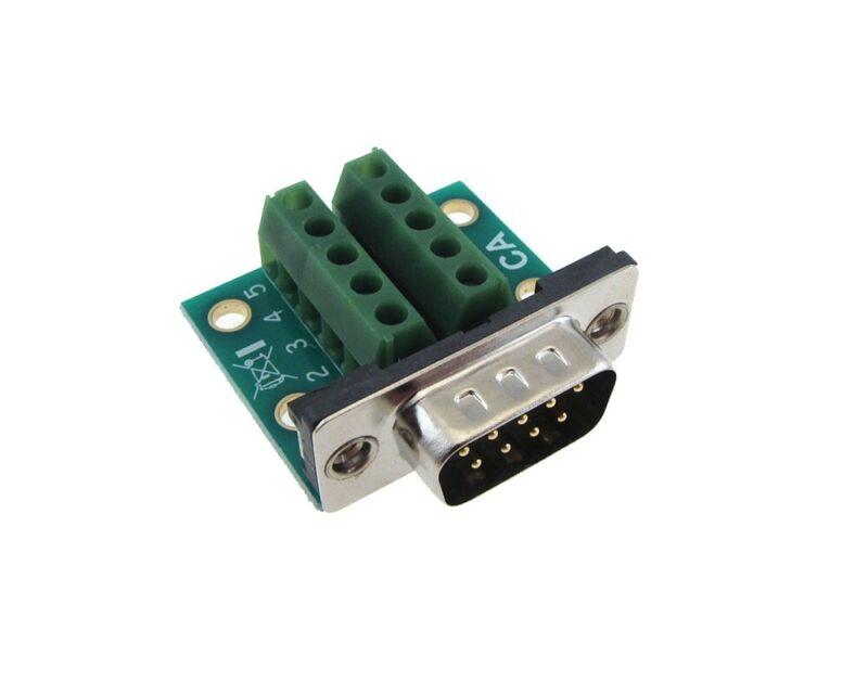 DB9 Male Signals Breakout Board Screw terminals Right angle Ultra thin
