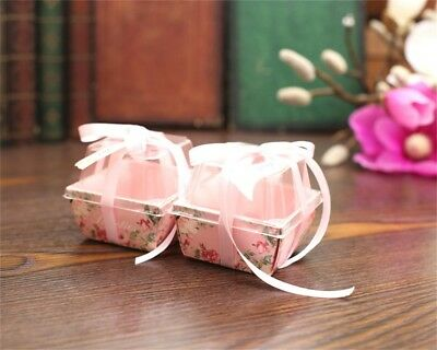 10/50PCS Love Heart Favor Ribbon Gift Box Candy Cake Boxes Wedding Party Decor - Cake Favor Boxes