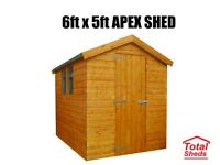6FT X 5FT APEX OR PENT SHED NEW