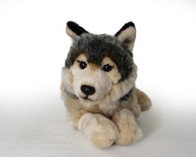Stofftier Wolf liegend, Kuscheltier, Plüschtier, Plüsch (Länge ca. 28cm)