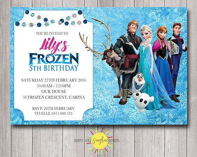 Custom Printable Frozen Birthday Invitation Any Age Elsa Olaf - Frozen Custom Invitations