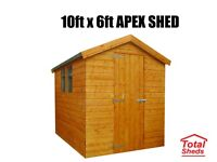 10FT X 6FT APEX OR PENT SHED NEW